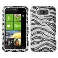 BasAcc Black Zebra Skin Diamante Case for HTC X310a TITAN