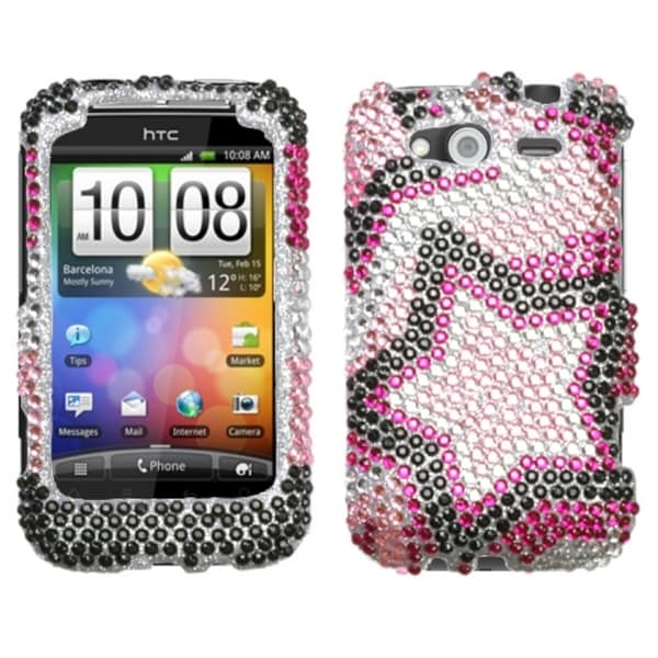 INSTEN Twin Star Diamante Phone Case Cover for HTC Wildfire S GSM/ Wildfire S CDMA