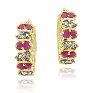 Glitzy Rocks 18k Gold over Silver Ruby Diamond Accent Hoop Earrings (1 1/10ct TGW )