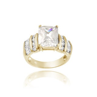 Icz Stonez 18k Gold over Silver Cubic Zirconia Engagement Ring