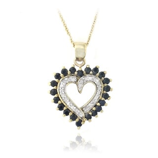 Glitzy Rocks 18k Gold over Silver Sapphire and 1/8ct TDW Diamond Heart Necklace (I-J, I2-I3)
