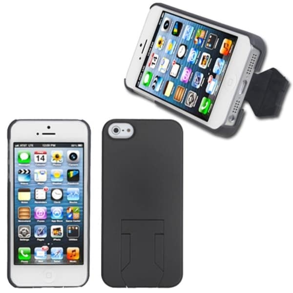 INSTEN Grey Back Protector Phone Case Cover With Stand for Apple iPhone 5