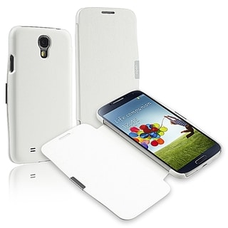 BasAcc White Leather Case With Flap for Samsung Galaxy S IV / S4
