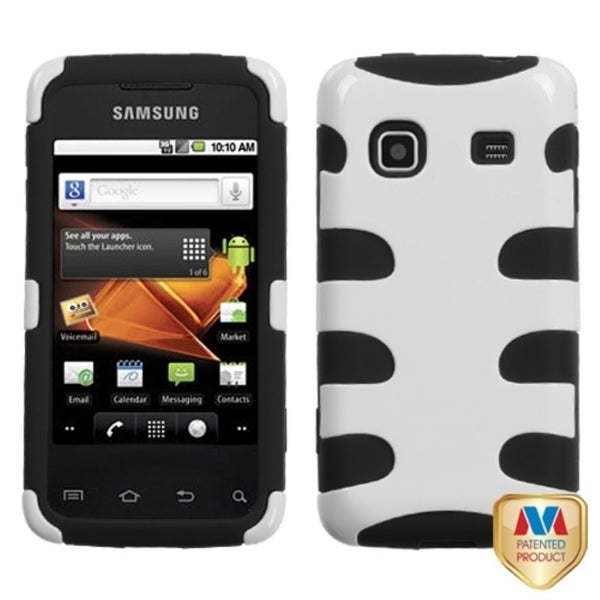 INSTEN White/ Black Fishbone Phone Case Cover for Samsung M820 Galaxy Prevail