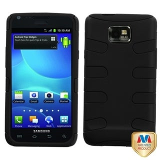 INSTEN Black Rubberized Fishbone Phone Case Cover for Samsung I777 Galaxy S II