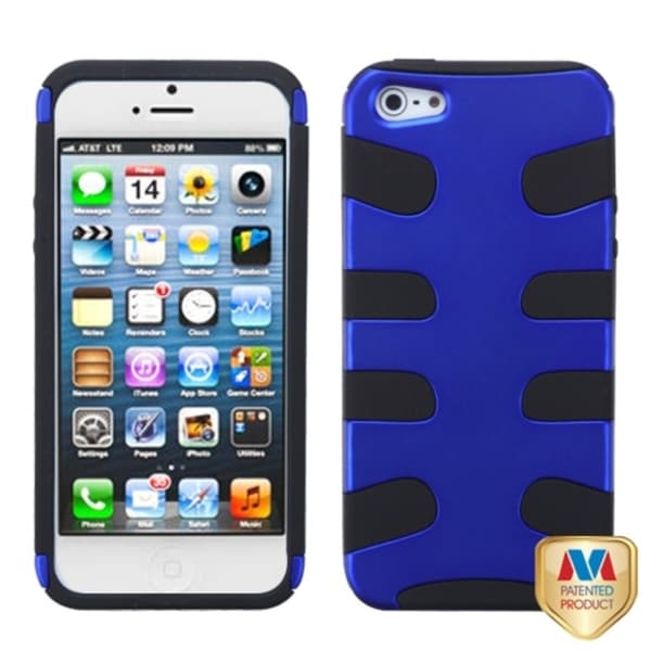 INSTEN Dark Blue/ Black Fishbone Phone Case Cover for Apple iPhone 5