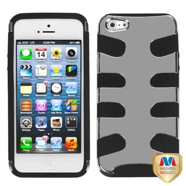 INSTEN Silver Plating/ Black Fishbone Phone Case Cover for Apple iPhone 5
