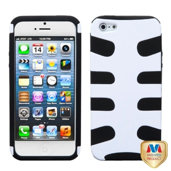 INSTEN Solid Ivory White/ Black Fishbone Phone Case Cover for Apple iPhone 5