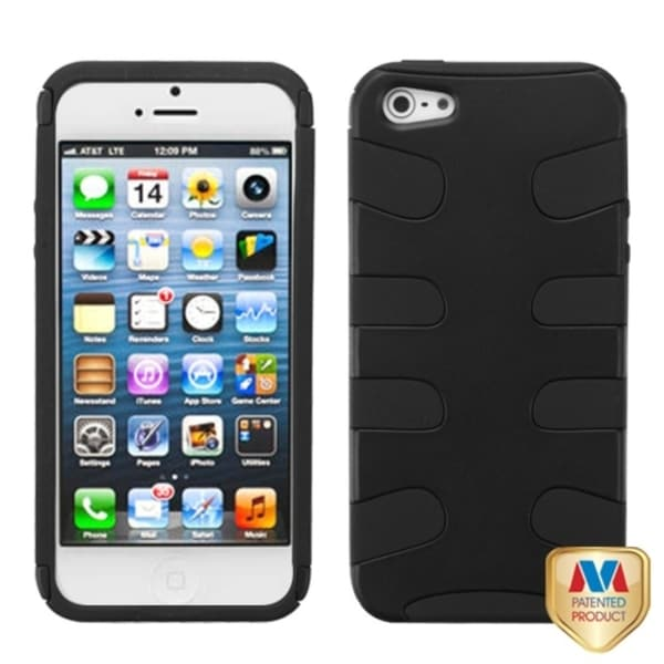 INSTEN Black Rubberized Fishbone Phone Case Cover for Apple iPhone 5