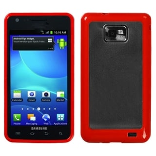 INSTEN Clear/ Solid Red Gummy Phone Case Cover for Samsung I777 Galaxy S II