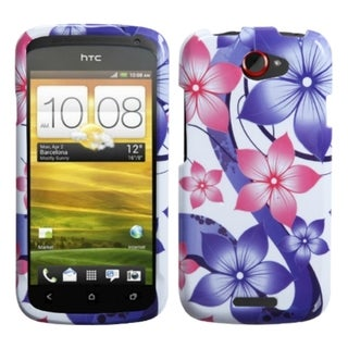 INSTEN Pink Hibiscus Flower Romance Phone Case Cover for HTC One S