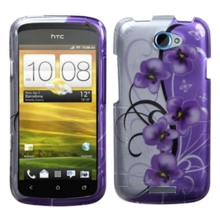 INSTEN Twilight Petunias 2D Silver Phone Case Cover for HTC One S