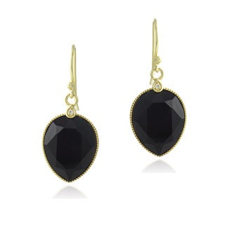 Glitzy Rocks 18k Gold over Silver Onyx and White Topaz Teardrop Earrings