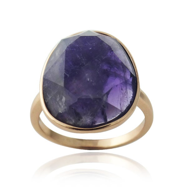 Glitzy Rocks Rose Gold over Silver Faceted Dog Tooth Amethyst Ring