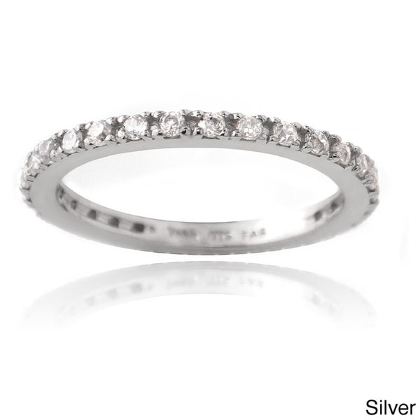 Icz Stonez Sterling Silver Cubic Zirconia Eternity Band Stackable Ring