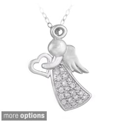 Icz Stonez Cubic Zirconia Sterling Silver Angel and Heart Silhouette Necklace