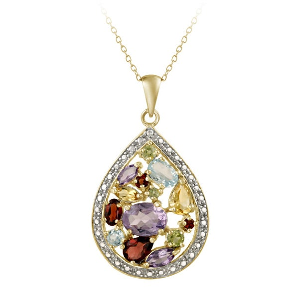 Glitzy Rocks Multi-Gemstone Cluster Teardrop Necklace