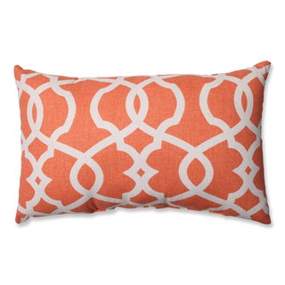 Pillow Perfect Lattice Damask Tangerine Rectangular Throw Pillow