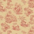 Brewster Red Safari Toile Wallpaper