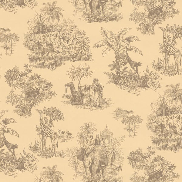 Brewster Beige Safari Toile Wallpaper