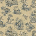 Brewster Blue Safari Toile Wallpaper