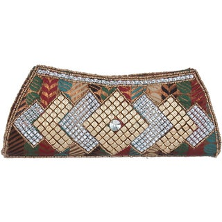 Handcrafted Beadwork Rainbow Clutch Bag (India)