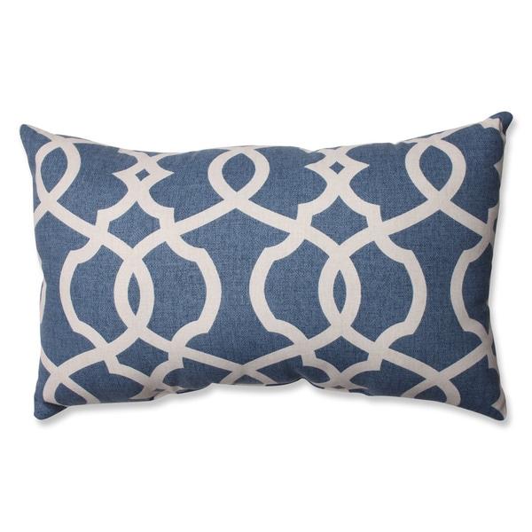 Pillow Perfect Lattice Damask Blue Rectangular Throw Pillow