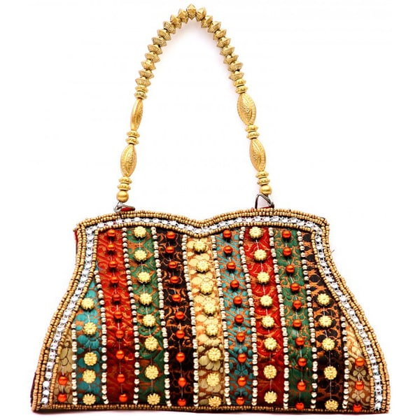 Handcrafted Embroidered Beads and Brocade Rainbow Clutch Bag (India)