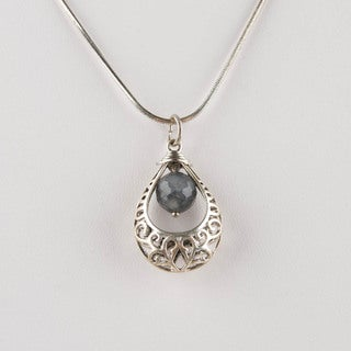 Silver Teardrop Pendant with Grey Glass Bead (China)