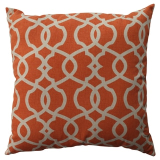Pillow Perfect Lattice Damask Tangerine 24.5-inch Decorative Pillow