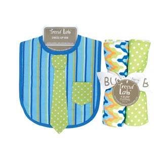 Trend Lab Levi Dress Up Necktie Bib and 4-piece Burp Cloth Set