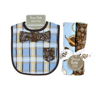 Trend Lab Bowtie Dress Up Bib and 4-piece Burp Cloth Set