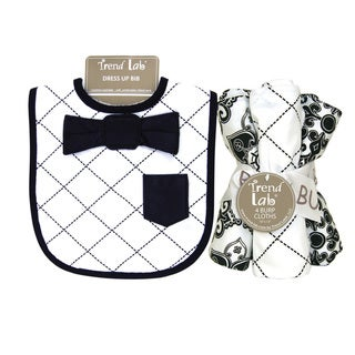 Trend Lab Versailles Black and White Dress Up Bib and 4-piece Burp Cloth Set