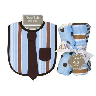 Trend Lab Max Necktie Dress Up Bib and 4-piece Burp Cloth Set