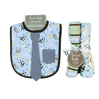 Trend Lab Baby Barnyard Necktie Dress Up Bib and 4-piece Burp Cloth Set