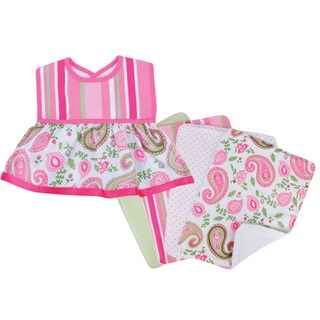 Trend Lab Paisley Park Dress Up Bib and 4-piece Burp Cloth Set