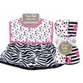 Trend Lab Zahara Zebra Dress Up Bib and 4-piece Burp Cloth Set