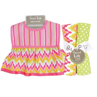 Trend Lab Savannah Dress Up Bib and 4-piece Burp Cloth Set