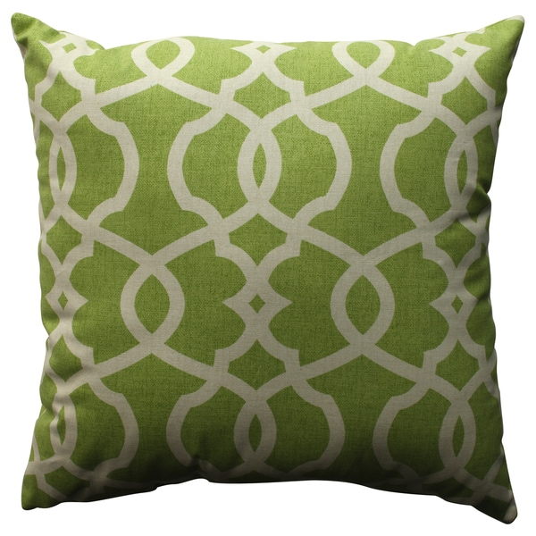 Pillow Perfect Lattice Damask Leaf 18-inch Throw Pillow