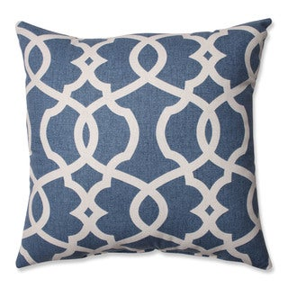 Pillow Perfect Lattice Damask Blue 16.5-inch Throw Pillow