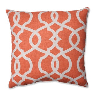 Pillow Perfect Lattice Damask Tangerine 16.5-inch Throw Pillow