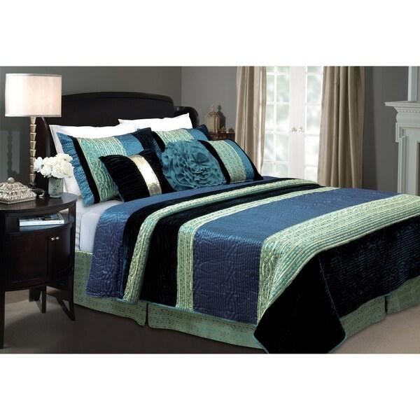 Greenland Home Fashions Sapphire Velvet 3-piece Quilt Set