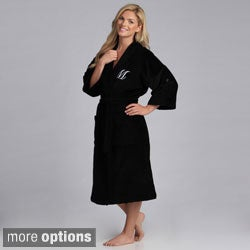 Monogram Cotton Velour Unisex Black Bath Robe