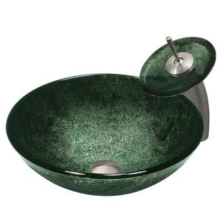 Vigo Emerald Glass Vessel Sink and Waterfall Faucet Set