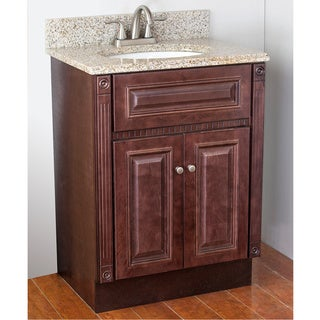 Heritage Vanity Cabinet Sunset Gold Granite Top and Brushed Nickel Faucet (2' x 1'6)