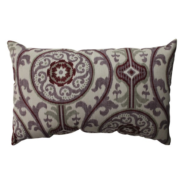Pillow Perfect Suzani Damask Plum Rectangular Throw Pillow