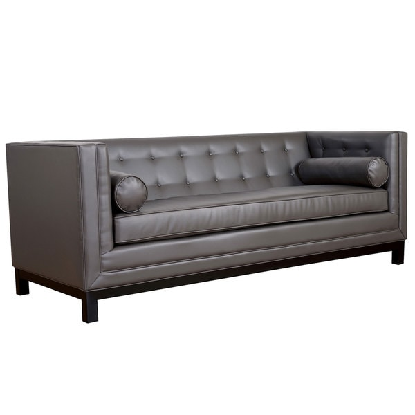 grey leather tufted upholstery new living room lounge couch seat sofa