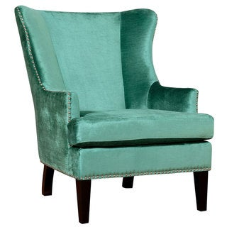 Soho Turquoise Velvet Wing Chair