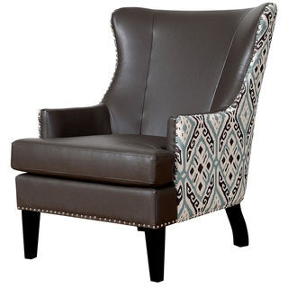 Soho Leather Ikat Wing Chair