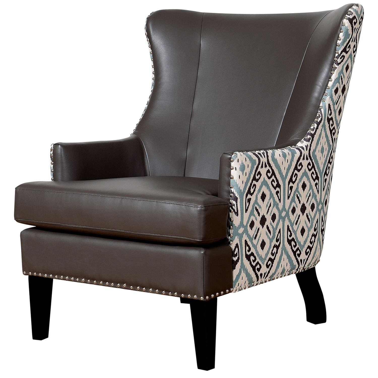 Soho Leather Ikat Wing Chair Overstock™ Shopping Great